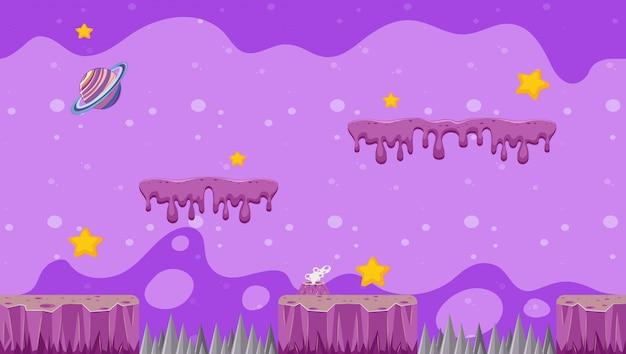 Illustratieontwerp met melkwegthema voor videospelletjes Gratis Vector