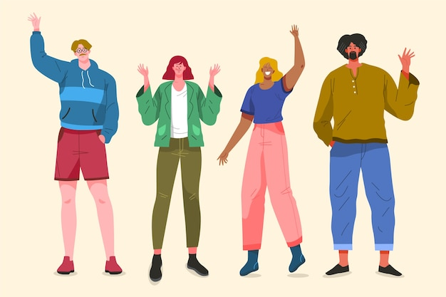 Illustratieontwerp met mensen die hand golven Gratis Vector
