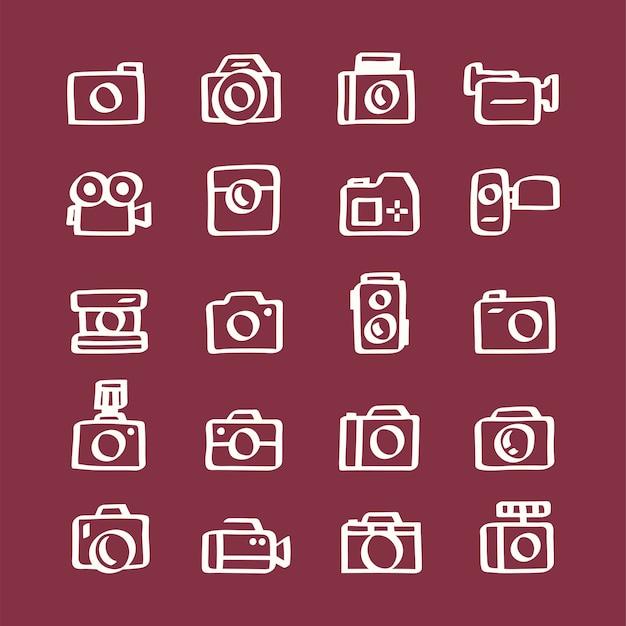 Illustratiereeks camerapictogrammen Gratis Vector