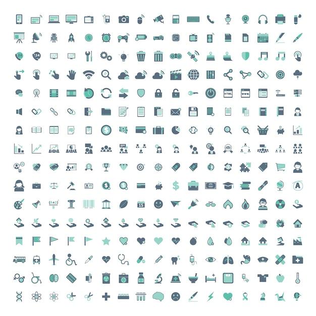 Illustratiereeks gemengde die pictogrammen op witte achtergrond wordt geïsoleerd Gratis Vector
