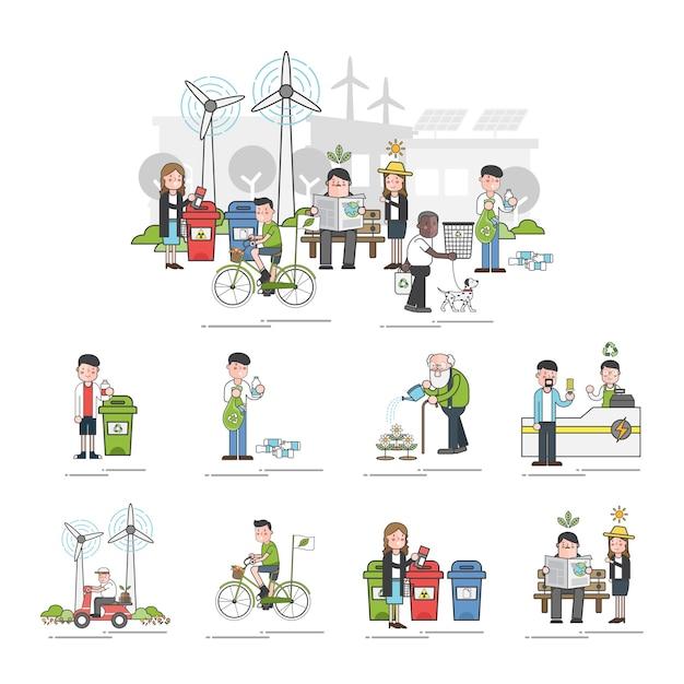 Illustratiereeks milieugeventie Gratis Vector