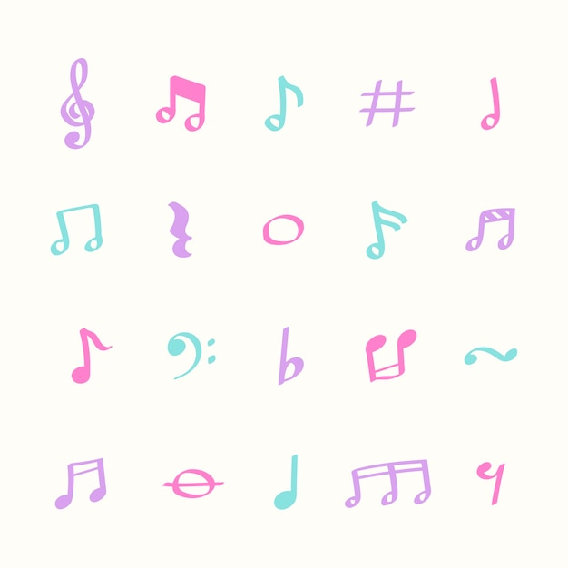 Illustratiereeks pictogrammen van de muzieknota Gratis Vector