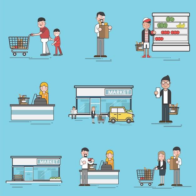 Illustratiereeks supermarktvector Gratis Vector