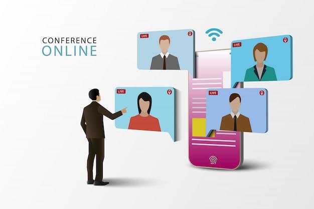 Illustraties concept videoconferentie. online vergadering op mobiele telefoon. live vergadering online. sociale media. Premium Vector