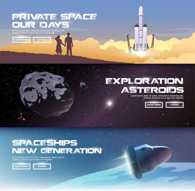 Illustraties rond het thema: astronomie, ruimtevlucht, ruimteverkenning, kolonisatie, ruimtetechnologie. de webbanners. privéruimtes. asteroïden. ruimteschepen van de nieuwe generatie. Premium Vector