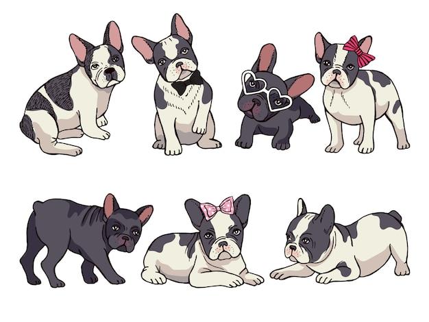 Illustraties set van schattige kleine franse bulldog. grappige foto's van puppy Premium Vector