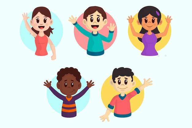 Illustraties van jonge mensen zwaaien hand pack Gratis Vector