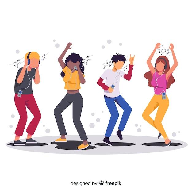 Illustraties van mensen die muziek luisteren en dansen Gratis Vector