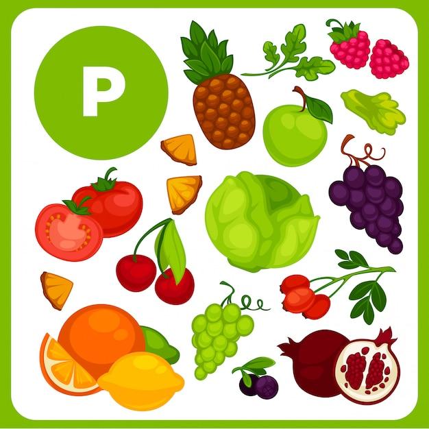 Illustraties van voedsel met vitamine p. Premium Vector