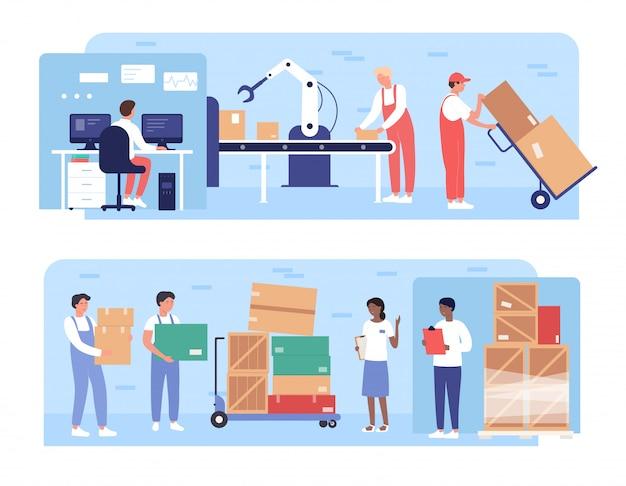 Illustraties werkverpakkingen. cartoon platte werknemers mensen bezig met opslag transportband met robotarm apparatuur, dozen laden op pallets, magazijn laden proces geïsoleerd op wit Premium Vector