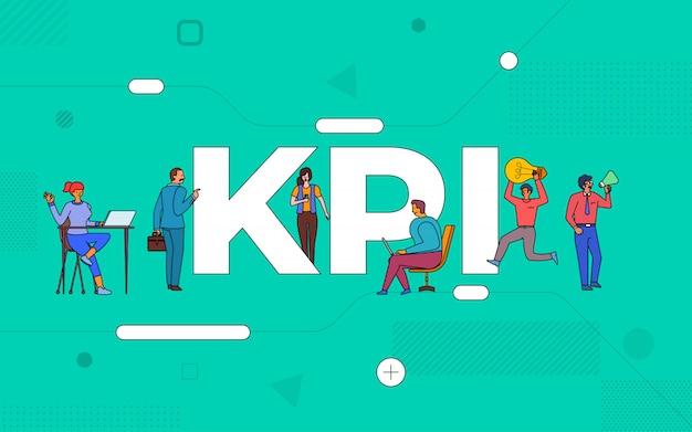 Illustraties zakelijk teamwerk creëren zakelijke key performance indicator die samenwerken. buildind tekst concept kpi. illustreren. Premium Vector