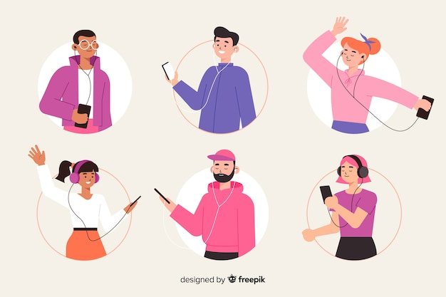 Illustratiethema met mensen die muziek luisteren Gratis Vector