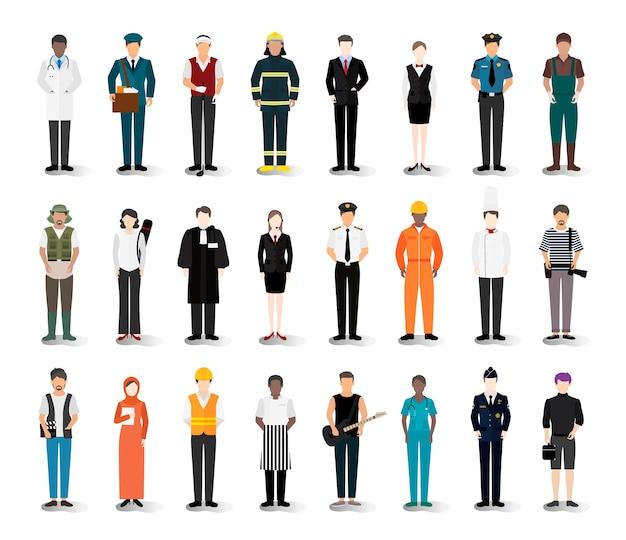 Illustratievector van diverse carrières en beroepen Gratis Vector