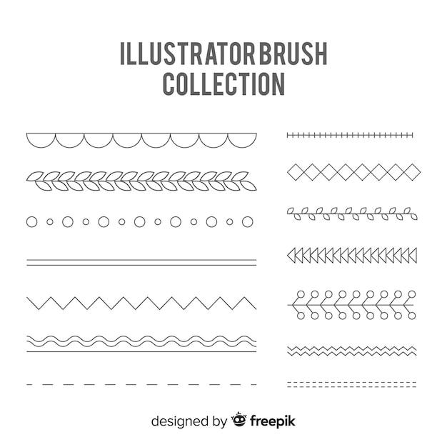 Illustrator borstelcollectie Gratis Vector