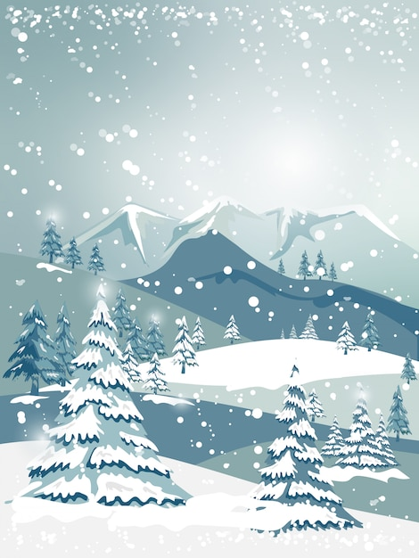 Illustrator kerstmis en winterlandschap met bosbomen op blauwe bergen Premium Vector