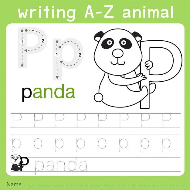 Illustrator van het schrijven van az animal p Premium Vector