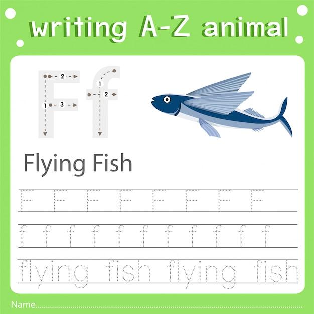 Illustrator van het schrijven van az dierlijke f vliegende vissen Premium Vector