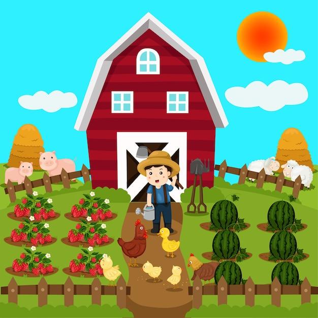 Illustrator van landbouwhuisdieren en fruit Premium Vector