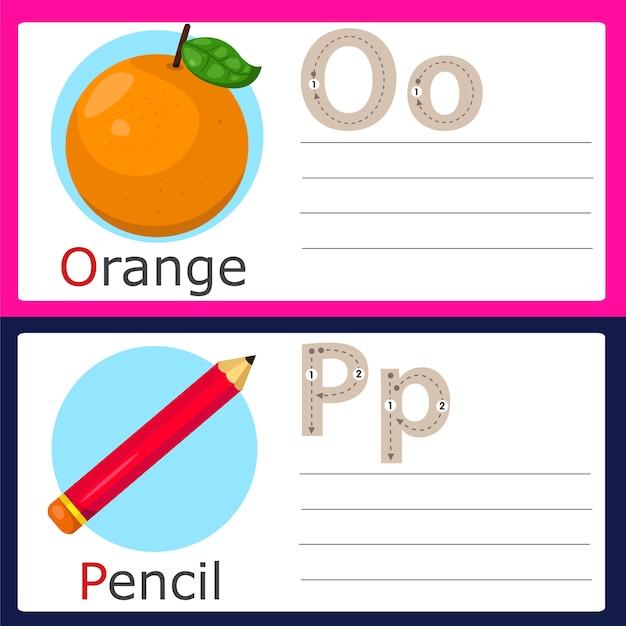 Illustrator van op-oefening voor kinderen Premium Vector