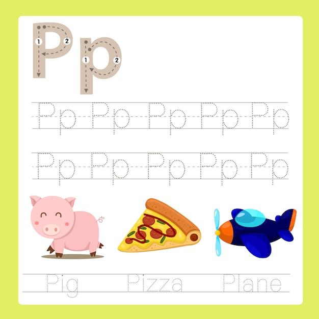 Illustrator van p oefent az cartoonwoordenschat uit Premium Vector