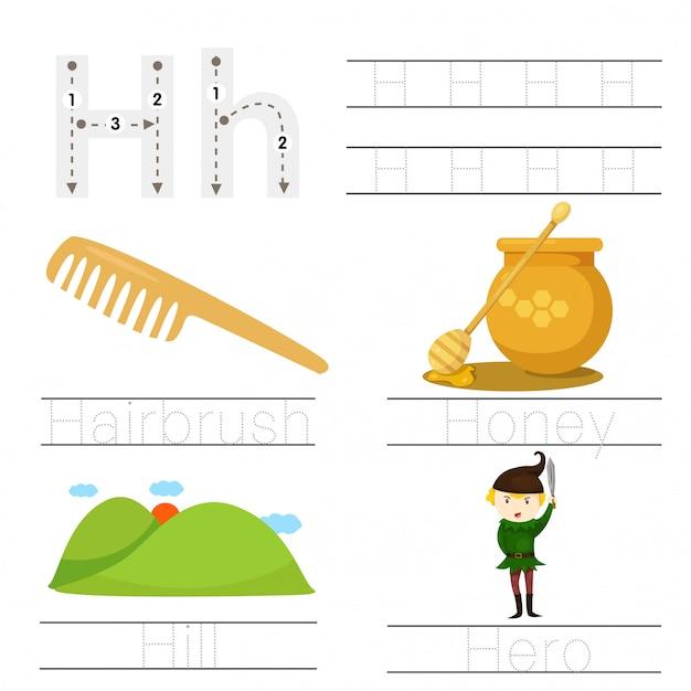 Illustrator van werkblad voor kinderen h-lettertype Premium Vector