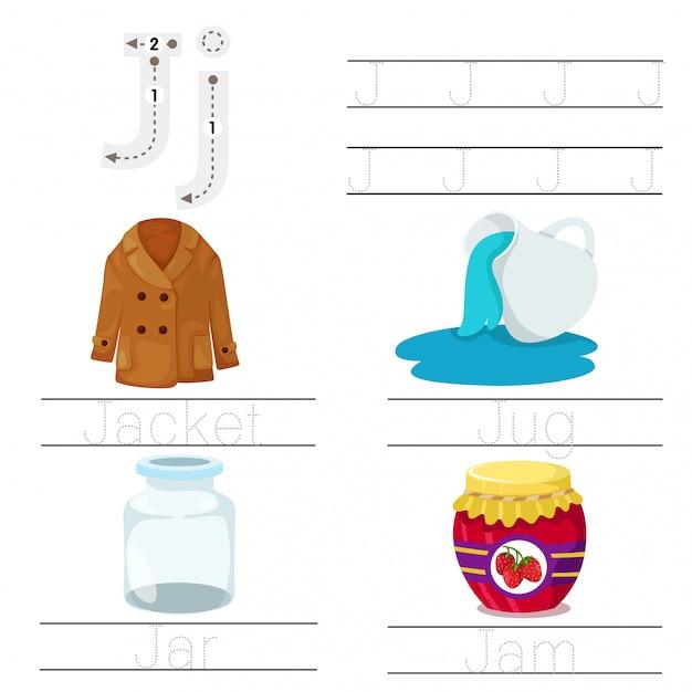 Illustrator van werkblad voor kinderen j lettertype Premium Vector