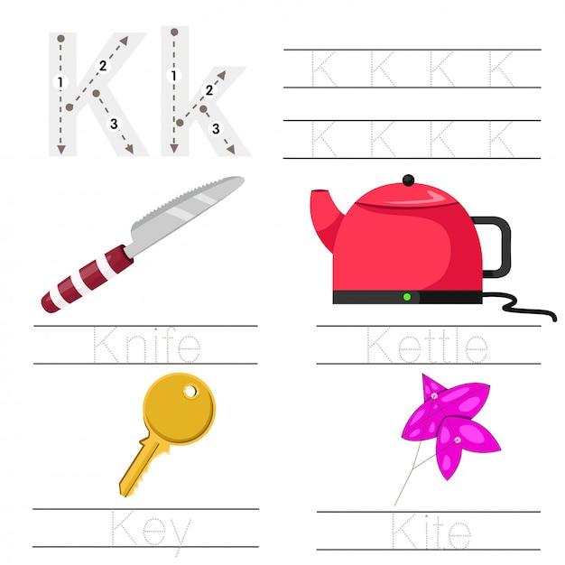 Illustrator van werkblad voor kinderen k lettertype Premium Vector