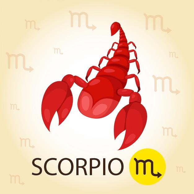 Illustrator van zodiac met schorpioen Premium Vector