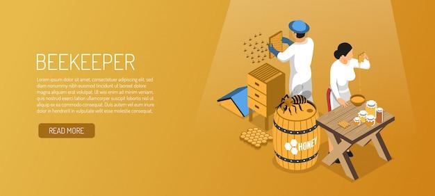 Imkers tijdens de isometrische horizontale banner van de honingsproductie op lichtbruin Gratis Vector