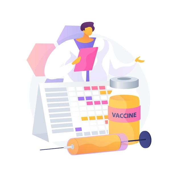 Immunisatie schema abstract concept vectorillustratie. preventiezorgschema, preventie van infectieziekten, vaccinatieplan voor kinderen, abstracte metafoor voor vaccinatiekalender voor volwassenen. Gratis Vector