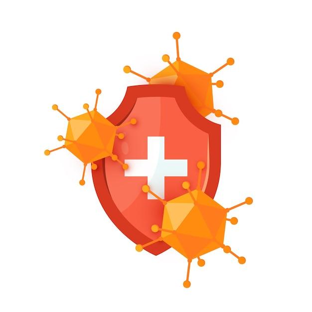 Immuunschildpictogram met een rood medisch schild en virussen in cartoonstijl. Premium Vector