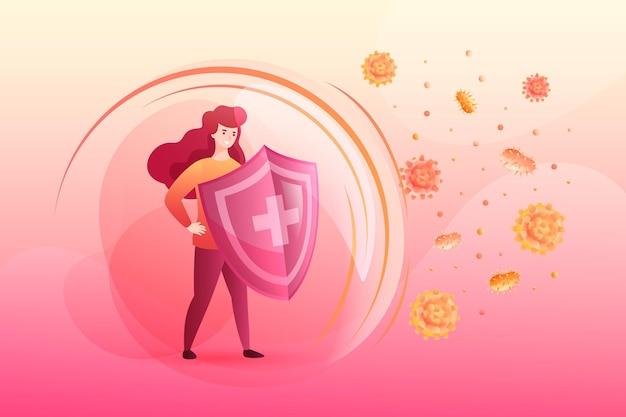 Immuunsysteemconcept met vrouw en schild Gratis Vector