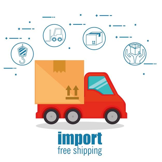 Importeer gratis verzending pictogrammen Premium Vector