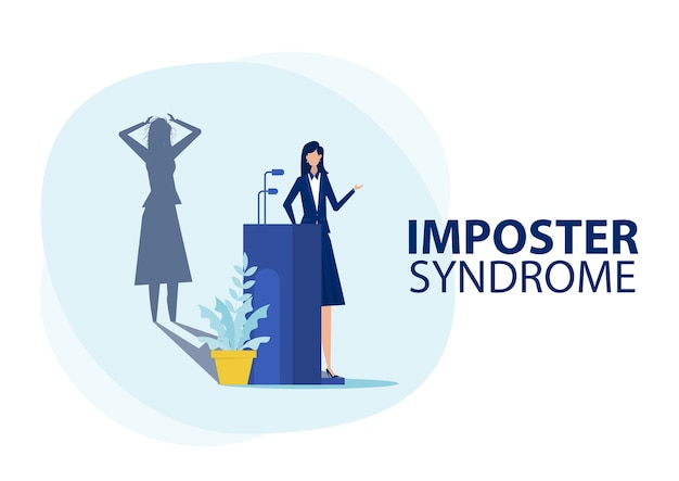 Imposter syndroom. vrouw staat voor haar huidige profiel met angstschaduw erachter. angst en gebrek aan zelfvertrouwen op het werk, de persoon die nep is, is iemand anders concept Premium Vector