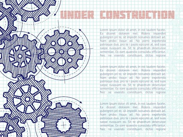 In aanbouw achtergrond met hand getrokken toestellen op notitieboekjepagina Premium Vector