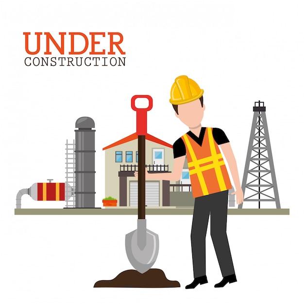 In aanbouw illustratie Gratis Vector