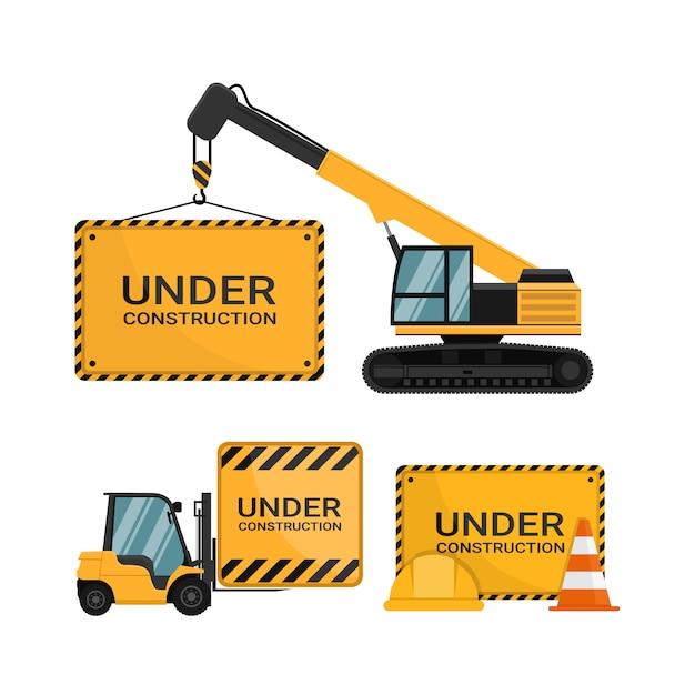 In aanbouw reclamebord met veiligheidskegel en veiligheidshelm Premium Vector