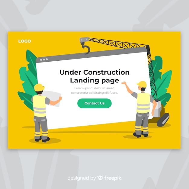 In aanbouw web landingspagina Gratis Vector