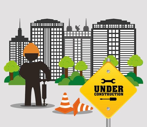 In aanbouw werknemer stad weg kegel gebouw en bomen Premium Vector