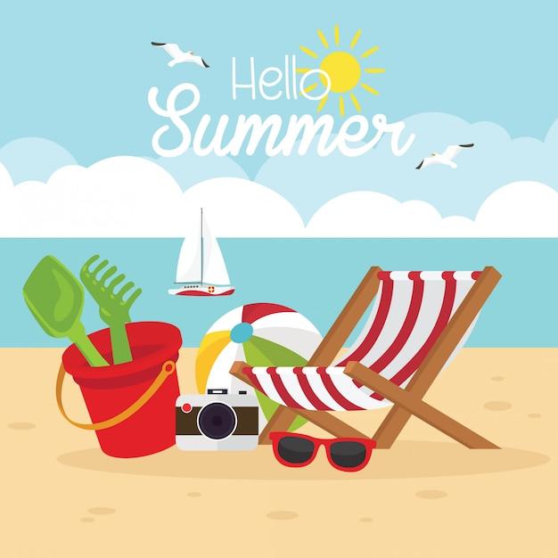 In de zomervakantie, strand met zomervakanties Premium Vector