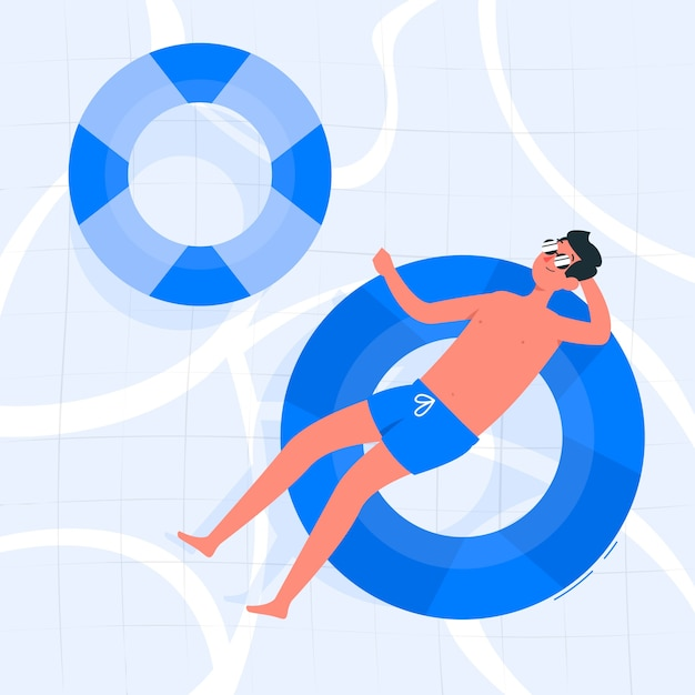 In het zwembad concept illustratie Gratis Vector