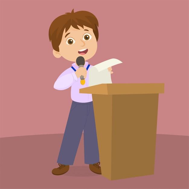 In lessenaar die een toespraak houdt Premium Vector
