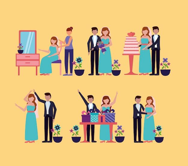 In vlakke stijl bruiloft mensen Gratis Vector