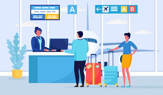Inchecken, registratie in de luchthaventerminal, passagiers staan in de rij bij de vertrekgate Premium Vector