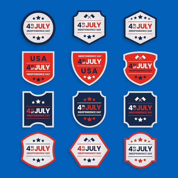 Independence day badges collectie Gratis Vector