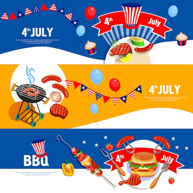 Independence day banners set Gratis Vector