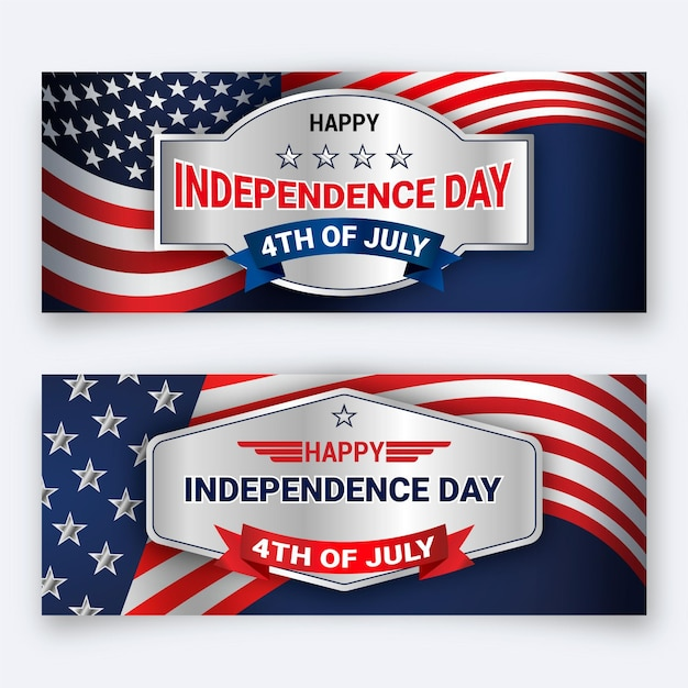 Independence day banners sjabloon Gratis Vector