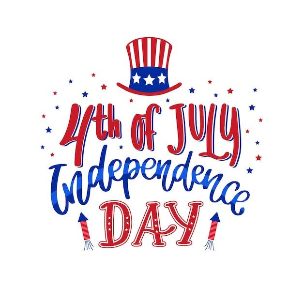 Independence day belettering ontwerp Gratis Vector