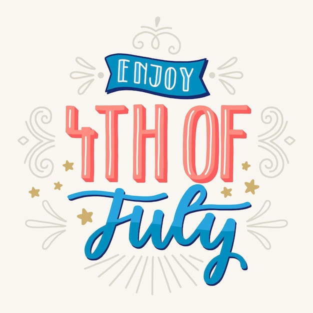 Independence day belettering thema Gratis Vector
