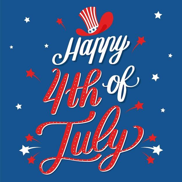 Independence day belettering Gratis Vector